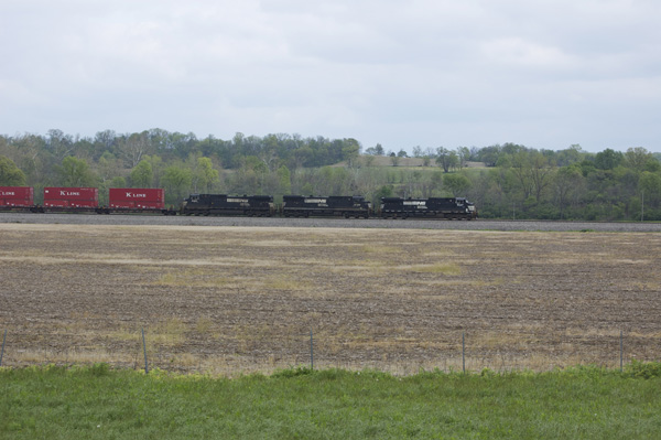 NS stack train south of Camden, Ohio headed toward Cincinnati.