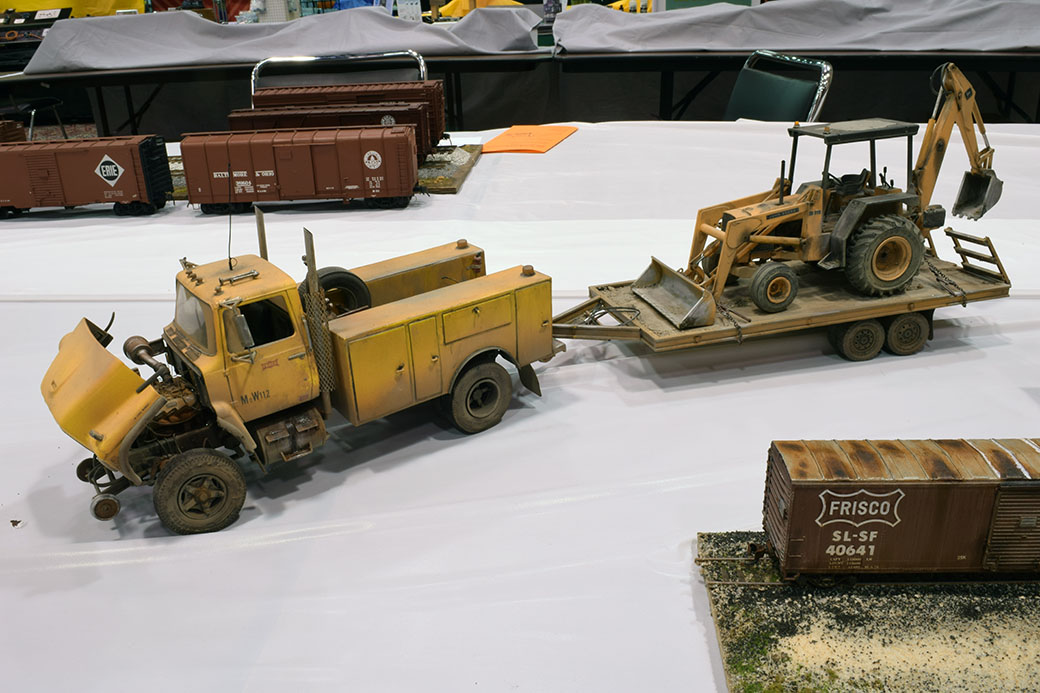 Steve Hurt's Hi-rail truck and trailer with backhoe